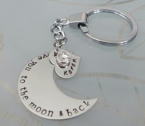 Personalised-Hand-Stamped-I-Love-you-to-the-moon-amp-Back-Key-Ring-or-Pendant