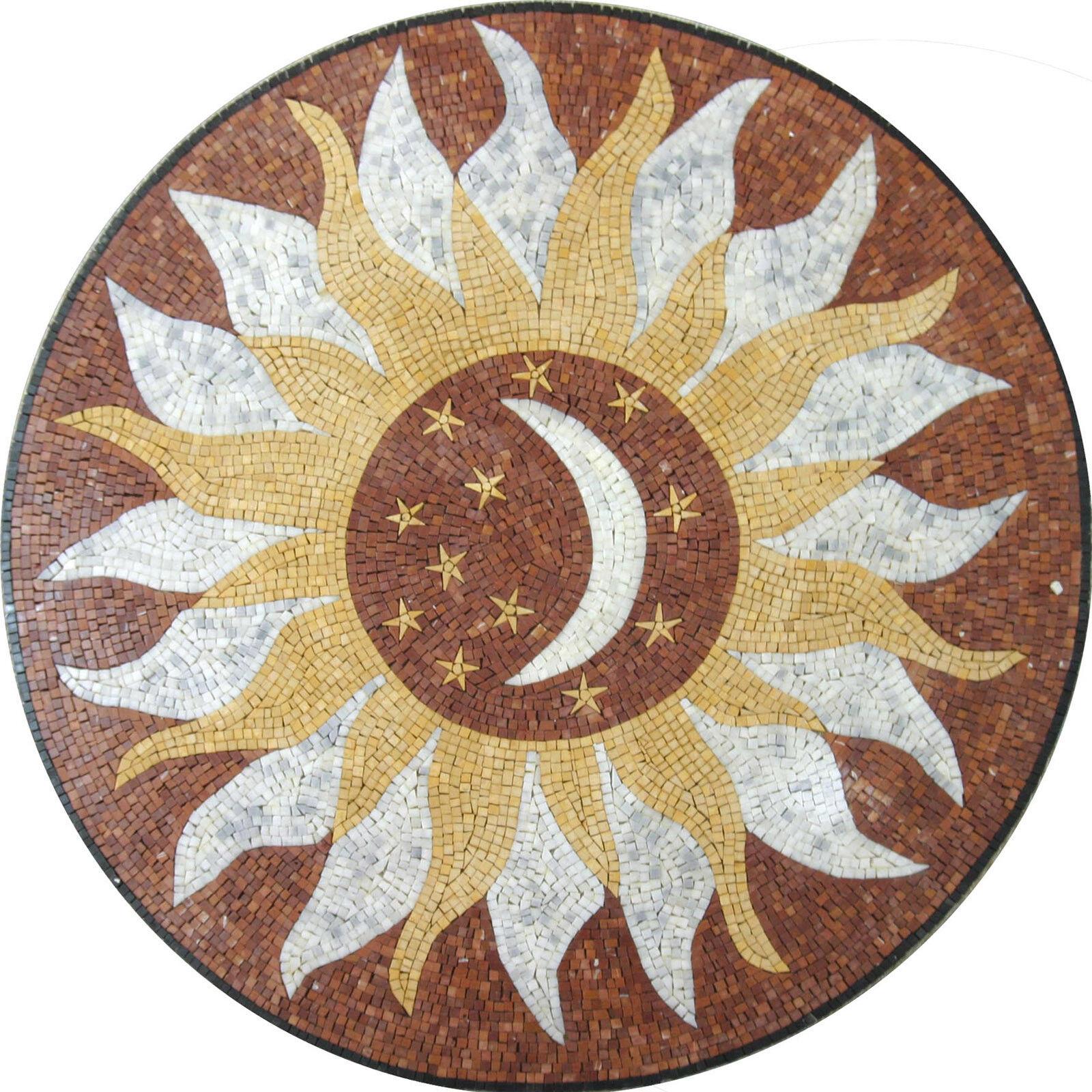 Floor Sun Moon Stars Wall Round Medallion Decor Marble Mosaic MD1009