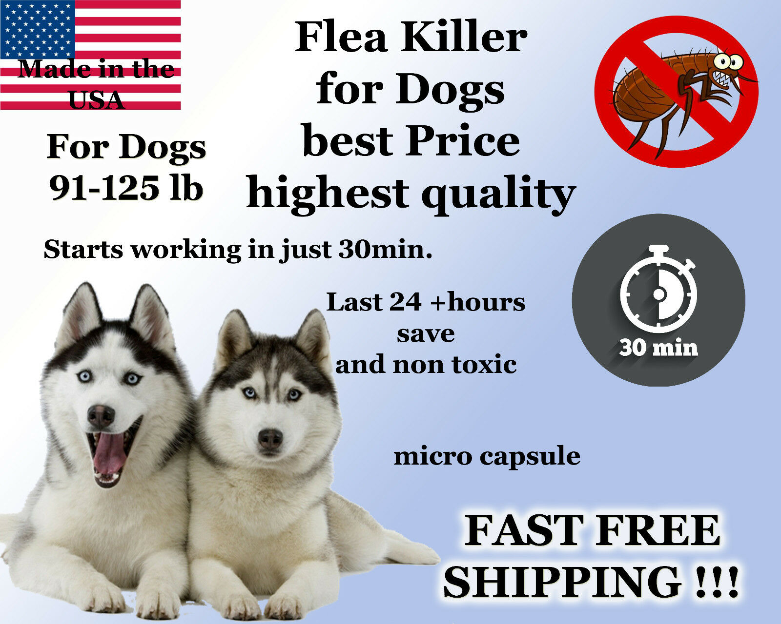 100 Capsules Instant Flea Killer Control Large Dogs 81-125lb 74mg FAST RESULTS