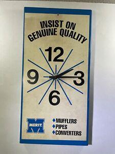 Vintage Merit Muffler Clock Not Working Plastic 1960s Garage