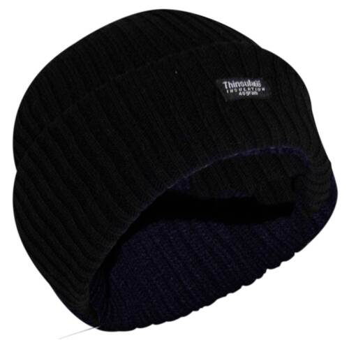 Thin Isulated Mens Knitted Woolly Chunky Thermal Beanie Outdoor Winter Ski Hat