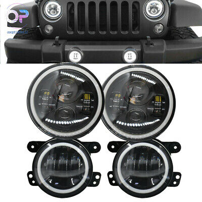 For Jeep Wrangler JK 07-17 Halo LED Headlight Halo LED DRL Fog Light Combo Kit