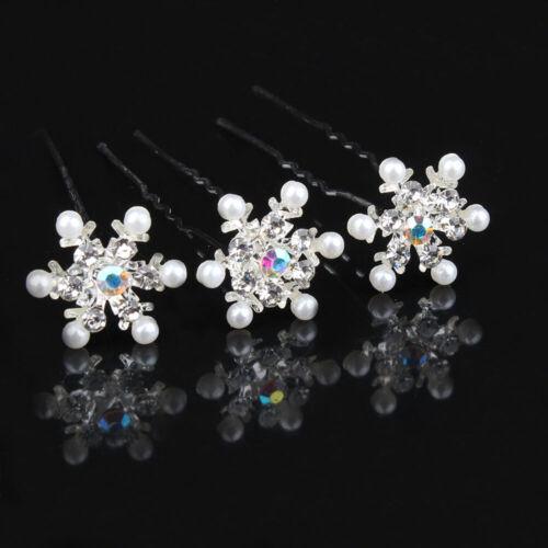 5Pcs Snowflake Flower Hair Pin Crystal Rhinestone Pearl Wedding Party Hair Clips