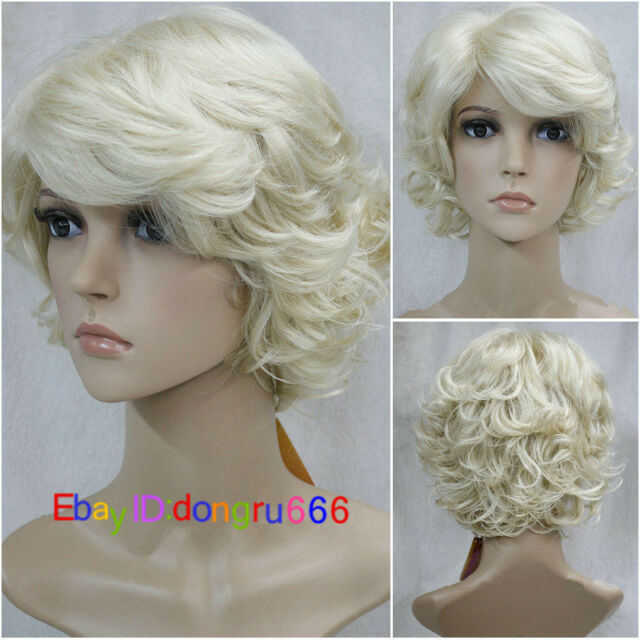 Ladies wig Short light blonde Curly Women Hair Fancy Dress party Cosplay  wigs 3a8796b07