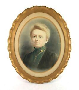 Antique-Victorian-Pastel-Portrait-Painting-Oval-Gold-Gilt-Gesso-Frame