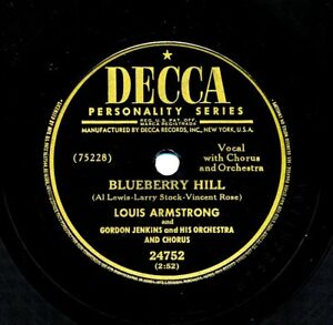 LOUIS-ARMSTRONG-on-1949-Decca-24752-Blueberry-Hill-That-Lucky-Old-Sun