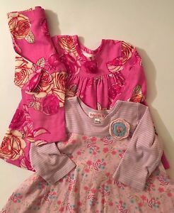 7a489334af0cd Details about LOT 2 Girl's BABY LULU Pink CHINA ROSE Top & Pants & Floral  DRESS 12 18 24 mo.