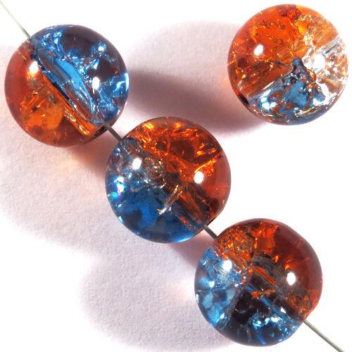 Lot de 20 Perles Craquelées en Verre 12mm Bicolore Bleu Rouge