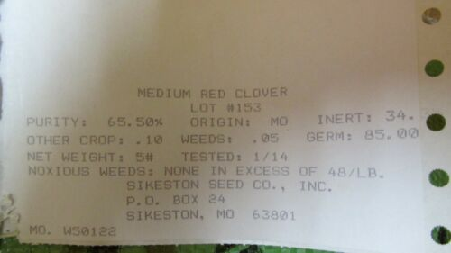 50 LBS RED CLOVER FOOD PLOT SEED FOR DEER WILDLIFE COATED SEED TURKEY