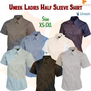 New-Ladies-Pinpoint-Oxford-Half-Sleeve-Shirt-Smart-Formal-Dress-Work-Uniform-Top