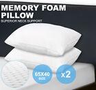 2 x Pack Deluxe Visco Elastic Memory Foam Surround/Contour Pillow 13cm Thick