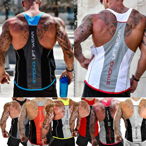 HOT-Men-039-s-Bodybuilding-Stringer-Tank-Top-Y-Back-Racerback-Gym-Workout-Clothes