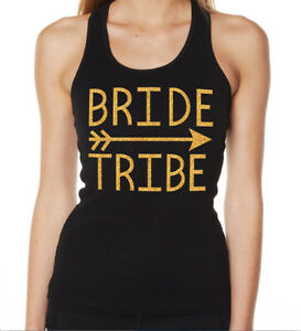 HENS-NIGHT-BRIDAL-SHOWER-IRON-ON-TRANSFER-GLITTER-GOLD-BRIDE-TRIBE