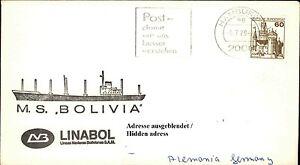 Bordpost Lettre Schiffspost Navire Cachet Ms Bolivia Linabol Shipletter 1979-afficher Le Titre D'origine