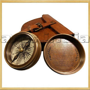 Brass Maritime Vintage Style Pocket Compass Nautical Strap w// Leather Case Decor