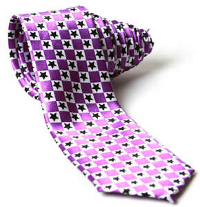 Purple-and-White-Checkered-with-Black-Stars-Neck-Tie
