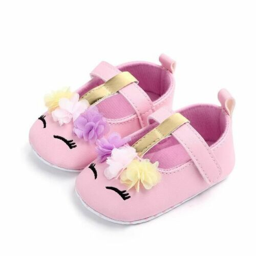 Toddler Baby Girls Flower Unicorn Shoes Leather Soft Sole Crib First walkers Kid