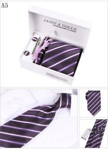 Krawatte-Manschettenknoepfe-Tuch-Tie-Clip-4-er-Herren-Geschenk-Set-Cufflinks-12