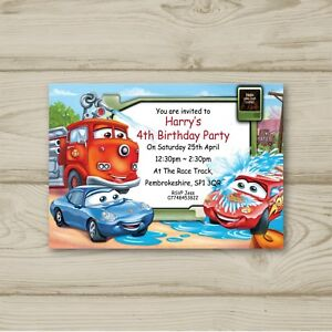 Image Is Loading Disney Cars Lightning McQueen Birthday Party Invitations Personalised