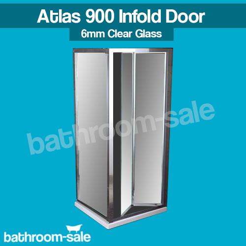 Atlas 900 salle de bain douche infold porte Clean Plus Chrome