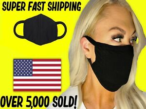 Face Mask DOUBLE LAYER Reusable & Washable Unisex SOFT BLACK COTTON —25% OFF