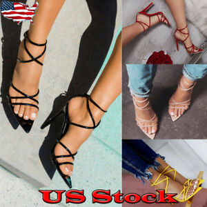 Womens-Sandals-Strappy-High-Stiletto-Heel-Peep-Toe-Summer-Formal-Casual-Evening