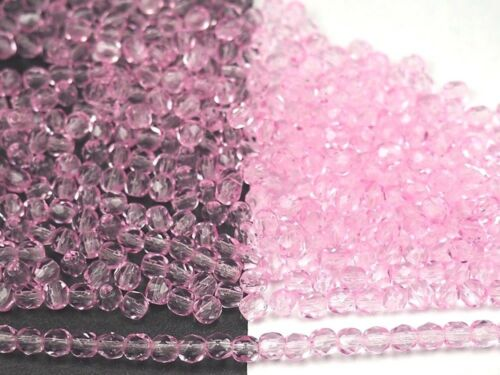 300 Preciosa Czech Glass Fire Polished Round Beads 6mm Crystal Pink Shimmer ctd