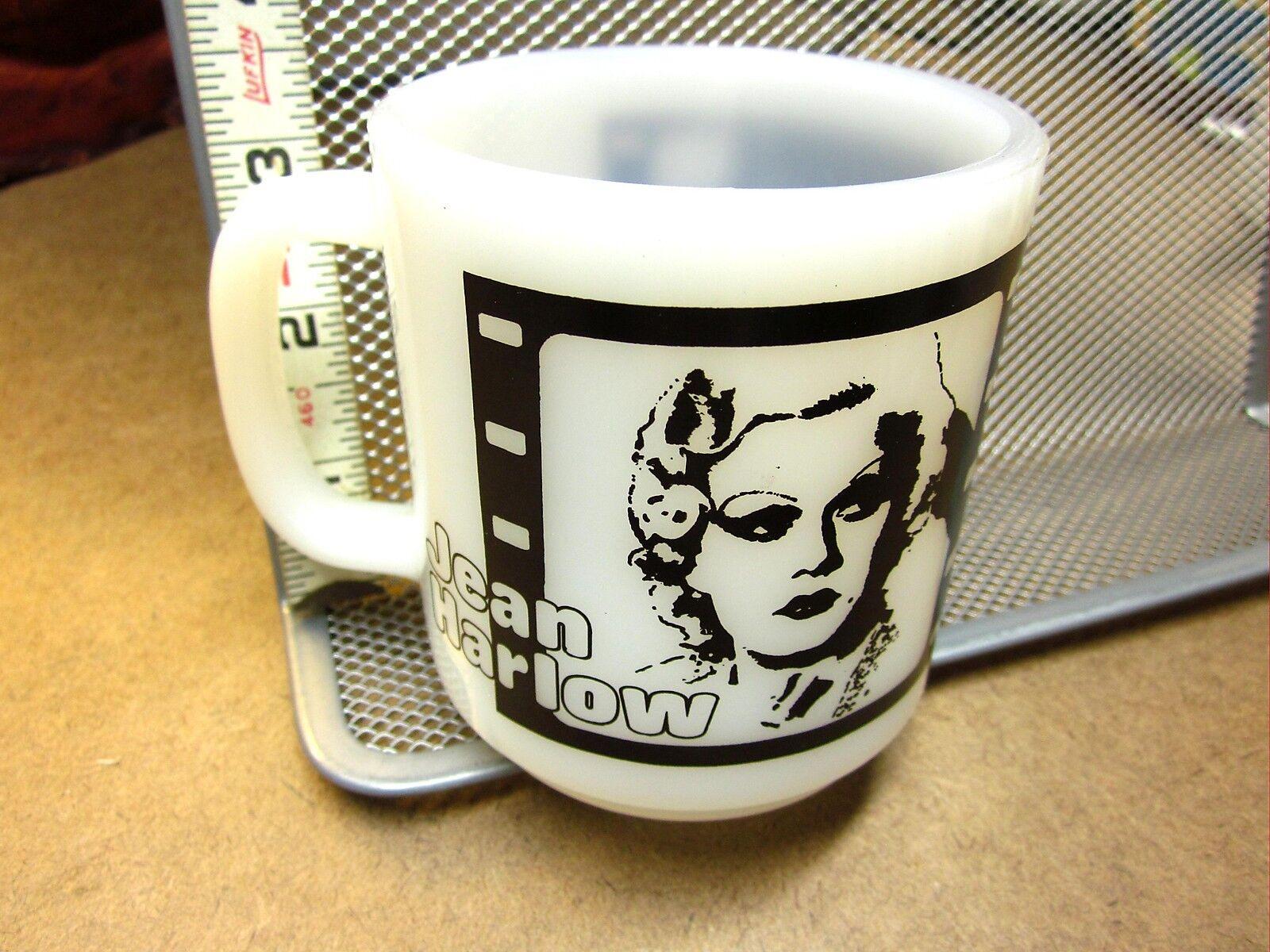 JEAN HARLOW blanc glass vtg mug CLARA BOW film-strip milk cup 1950s Hollywood