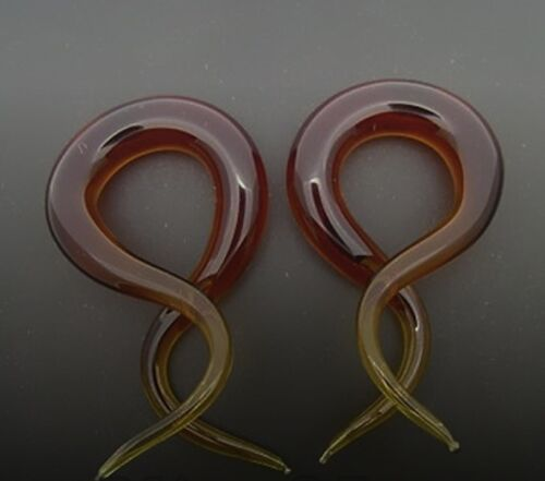 PYREX GLASS 6G 1 5//8 AMBER DOUBLE TWISTS PLUGS SPIRALS