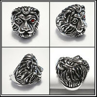 Heavy Solid Brass Ruby Eye Lion Head Ring Size 8, 9, 10, 11, 12 Bid