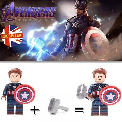 Captain america lego Fit Figure Avec Mjolnir Avengers fin jeu MARVEL Vendeur Britannique