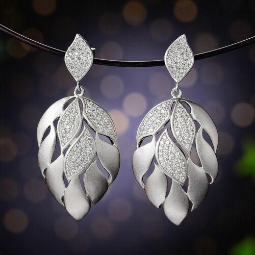 Luxus 18K Gelbgold Große Blätter Ohrringe  für Frauen Echt 925 Silber Schmuck