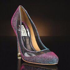 Badgley Mischka Myria evening wedding formal heels pump Gray/PLUM purple shoes