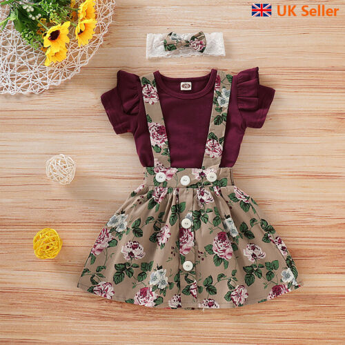 Toddler Baby Girl Floral Skirt Jumpsuit Romper Top Headband Clothes Set Outfits