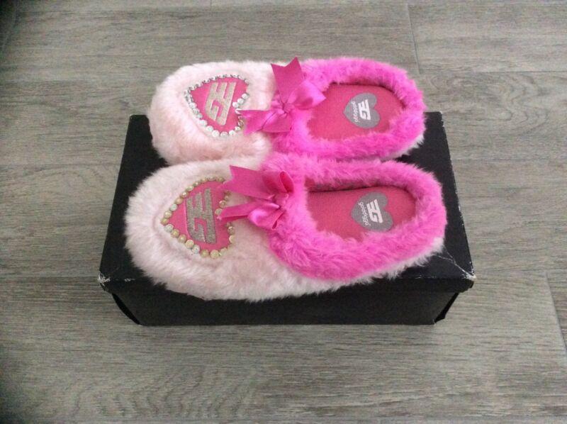 Donna Golddigga Diamantati Morbido E Pantofole Rosa Taglia M = Uk 4/5