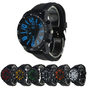 1PC Men Silicone Rubber Band Stainless Steel Analog Quartz Sport Watch Cheap