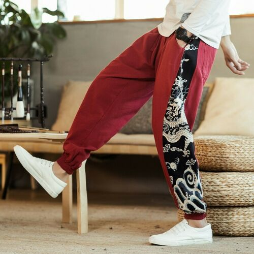 Mens Loose Fit Trousers Printed Harem Pants Slacks Patchwork Chinese style New D