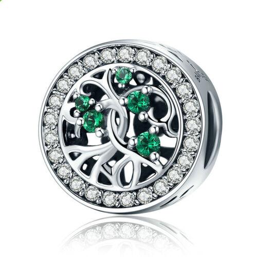 DIY1pcs Silver tree European CZ Charm Crystal Spacer Beads Fit Necklace Bracelet