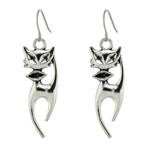 1 coppia orecchini bigiotteria STYLISH CAT orecchino metallo gatto stilizzato