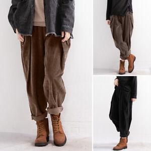 Mode-Femme-Pantalon-en-velours-Casual-en-vrac-Loose-Taille-elastique-Poche-Plus