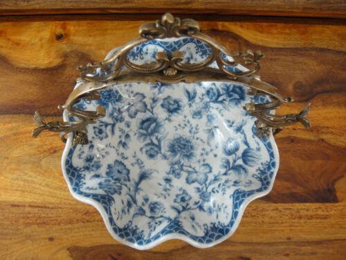 Luxus Prunkschale Jugendstil Schale Porzellan Bronze Zwiebelmuster Edel Antik