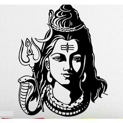 Asmi Collections PVC Wall Sticker Beautiful God Shiva-60(L) X 78(H) CM