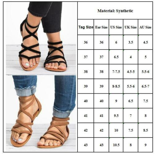 Women Summer Roman Gladiator Sandals Flat Flip Flops Ankle Strappy Thong Shoes
