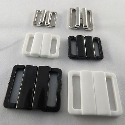 6 Stück BH Bikini Verschluss 12 mm Kunststoff schwarz
