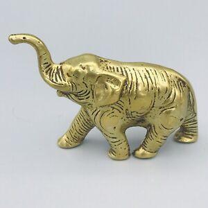 Small Vintage Solid Brass Elephant Ornament Retro Kitsch