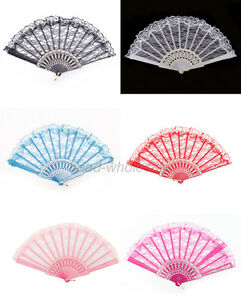 Chinese-Japanese-Foldable-Lace-Trim-Hand-Fan-5-Colors-Floral-Print