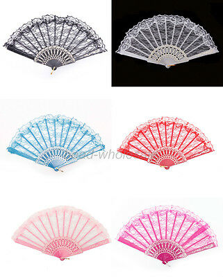 Chinese Japanese Foldable Lace Trim Hand Fan 5 Colors Floral Print