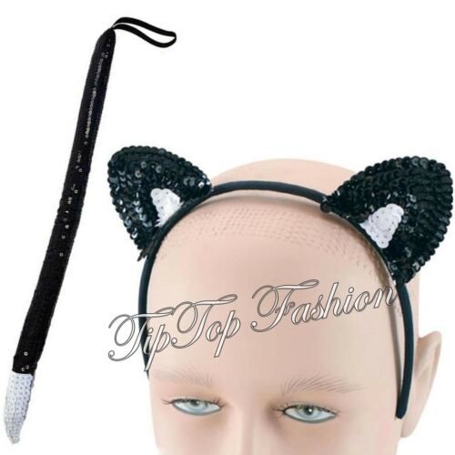 HALLOWEEN CAT SEQUIN TAIL /& CAT SEQUIN EARS ON HEADBAND FANCY DRESS ACCESSORY