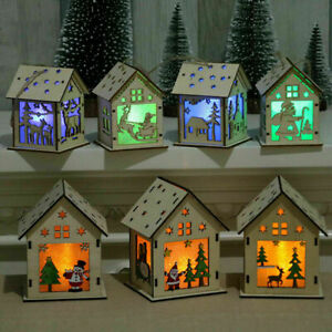 NEW-Christmas-Ornaments-Gifts-Wood-House-LED-Light-Xmas-Tree-Pendant-Products