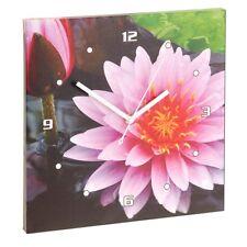 Wanduhr Analog Wanddeko Küchenuhr Wohnzimmer Blume Blüte Seerose Wandbild Ø30cm